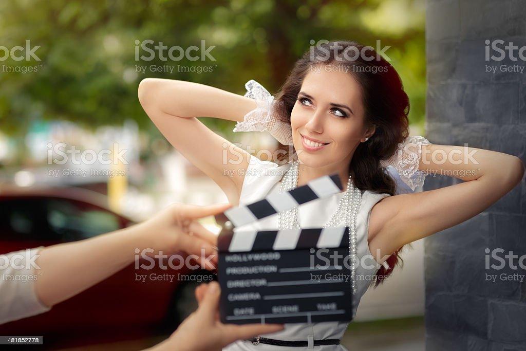 Happy Elegant Woman Ready for a Shoot stock photo
