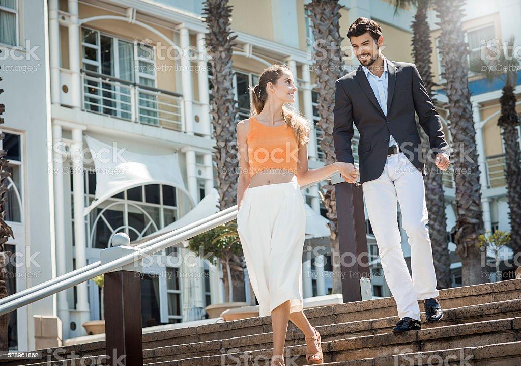 happy elegant young couple stock photo