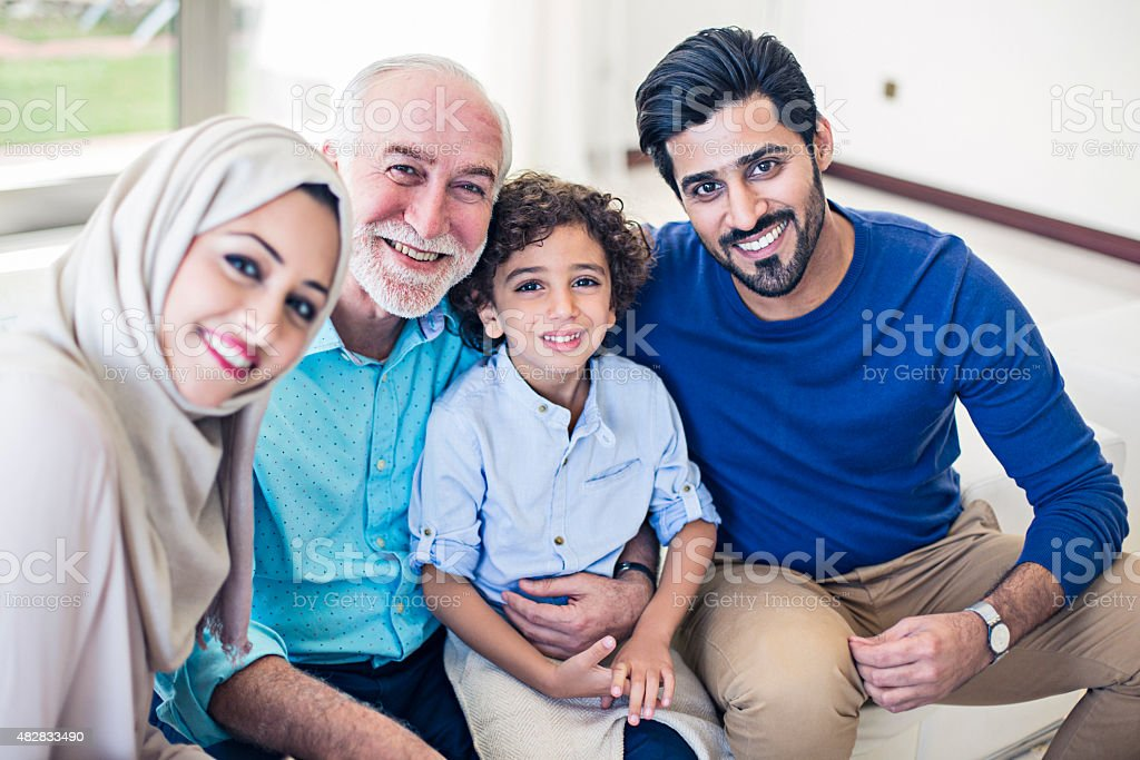 Happy Emirati Family stock photo