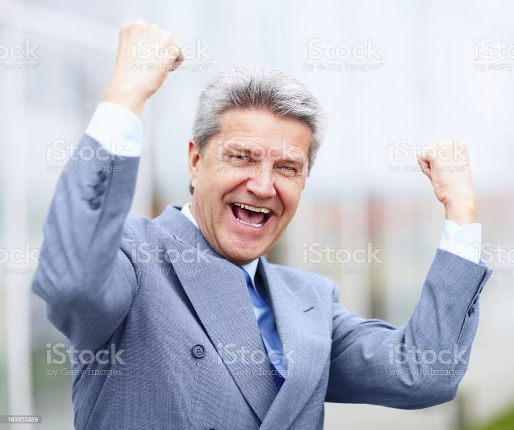 Happy, energetic businessman enjoying his success royalty-free stock photo