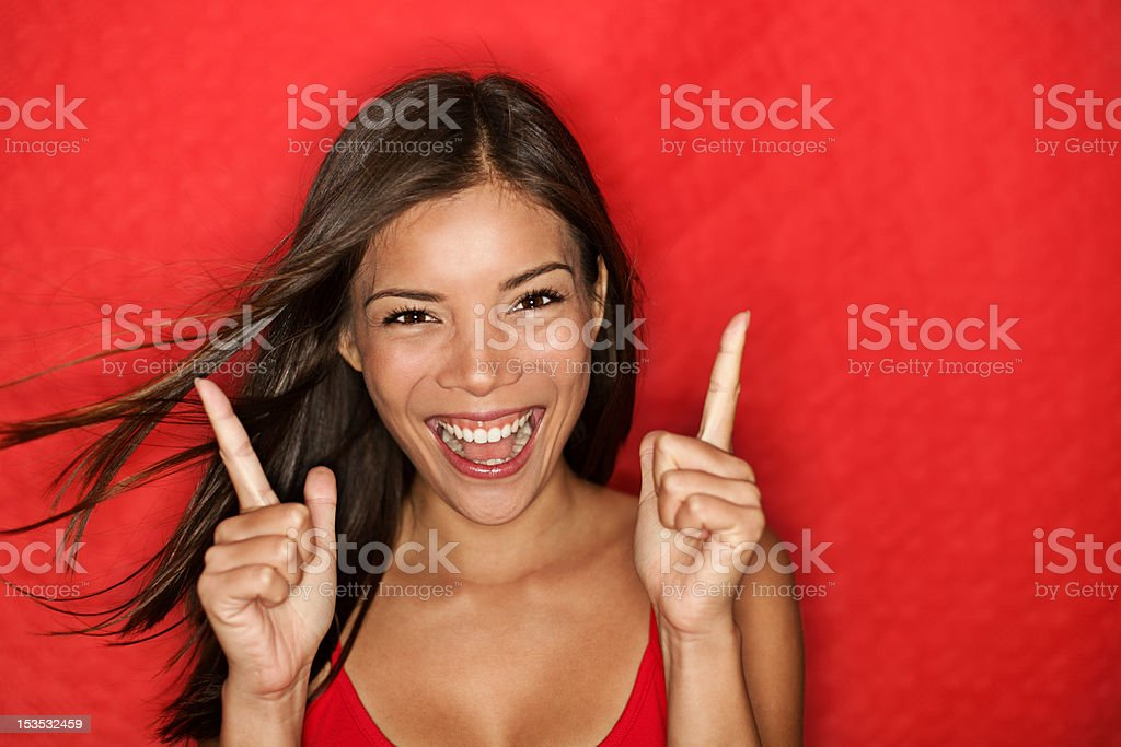 Happy energetic woman on red royalty-free stock photo
