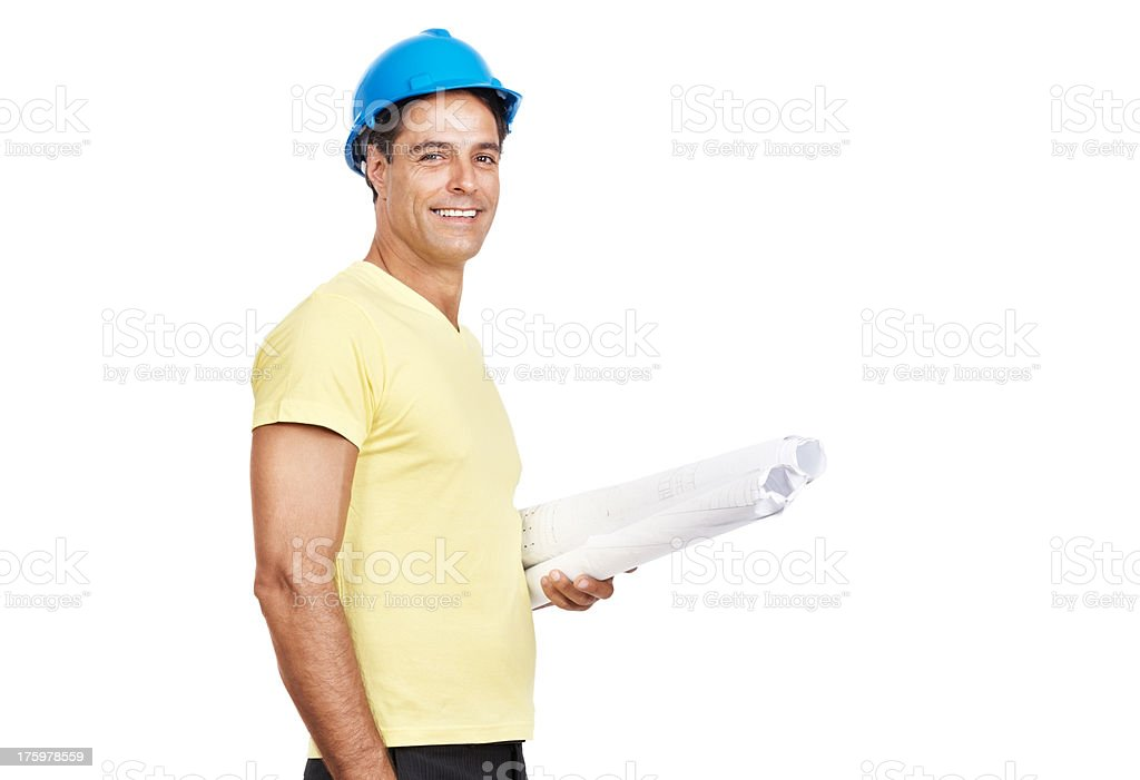 Happy engineer holding documentation in the hand stock photo