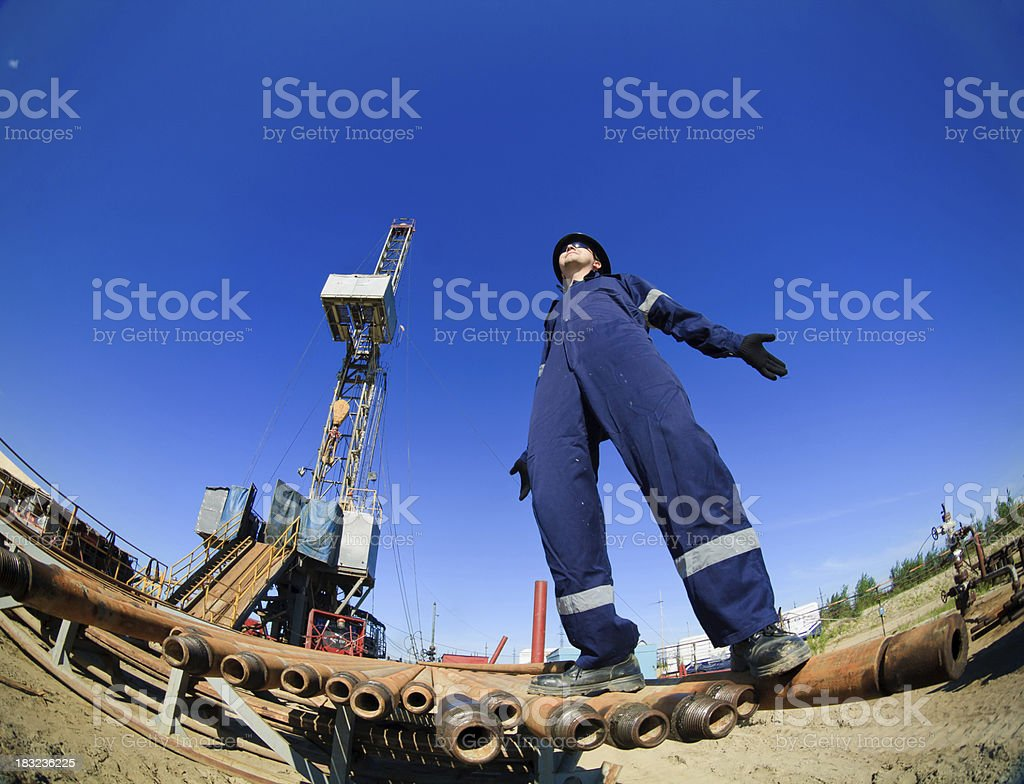Happy engineer with wide open hands royalty-free stock photo