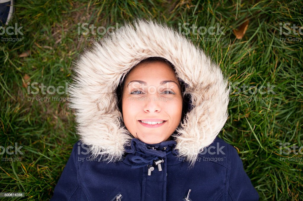Happy eskimo girl smiling stock photo