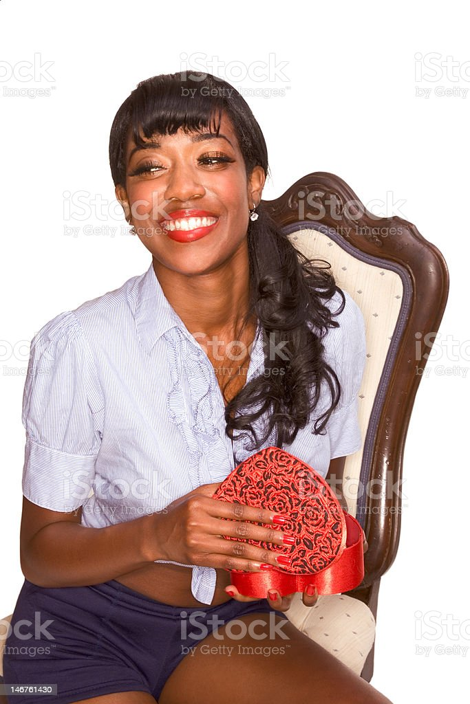 Happy ethnic girl with Valentine's day present royalty-free stock photo