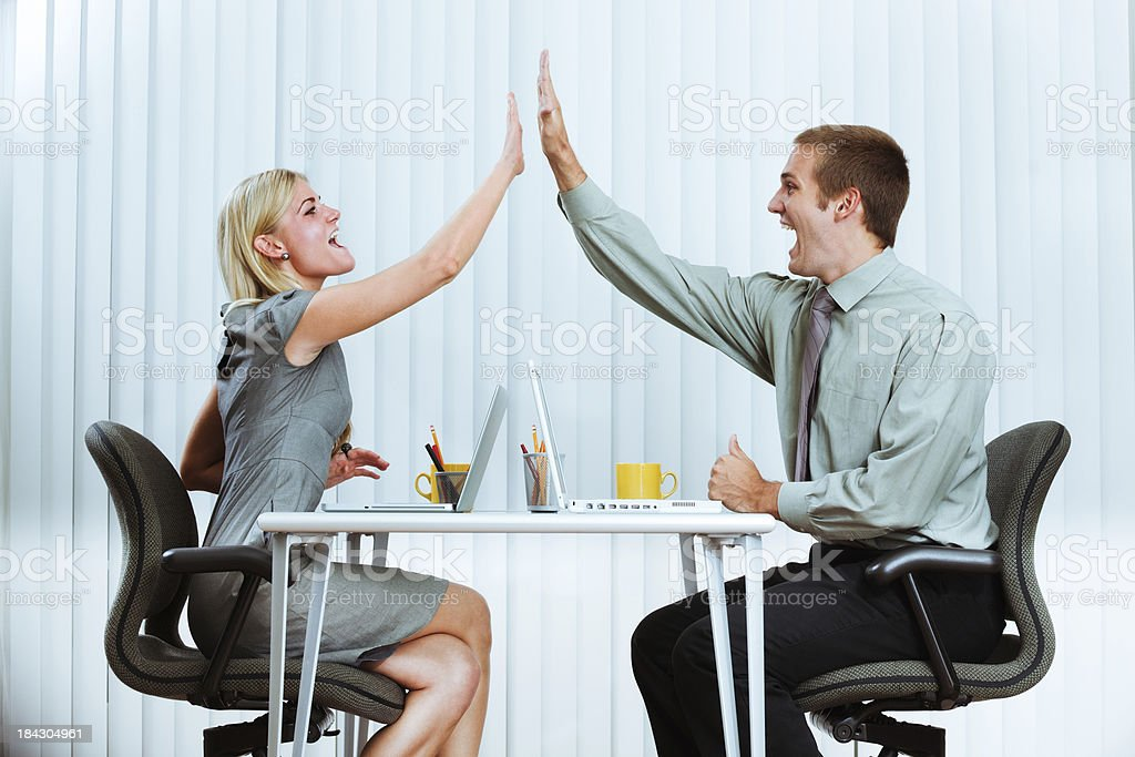 Happy Excited Business Managers Office Workers Team Doing High Five royalty-free stock photo