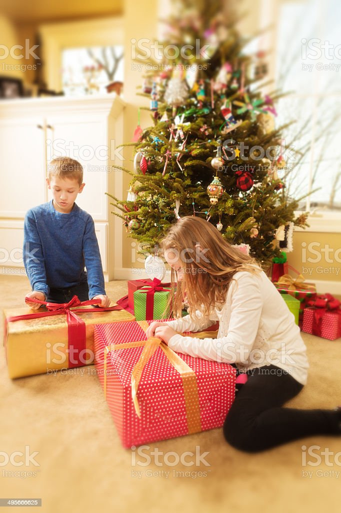 Happy Excited Children Opening Presents in Front of Christmas Tree royalty-free stock photo
