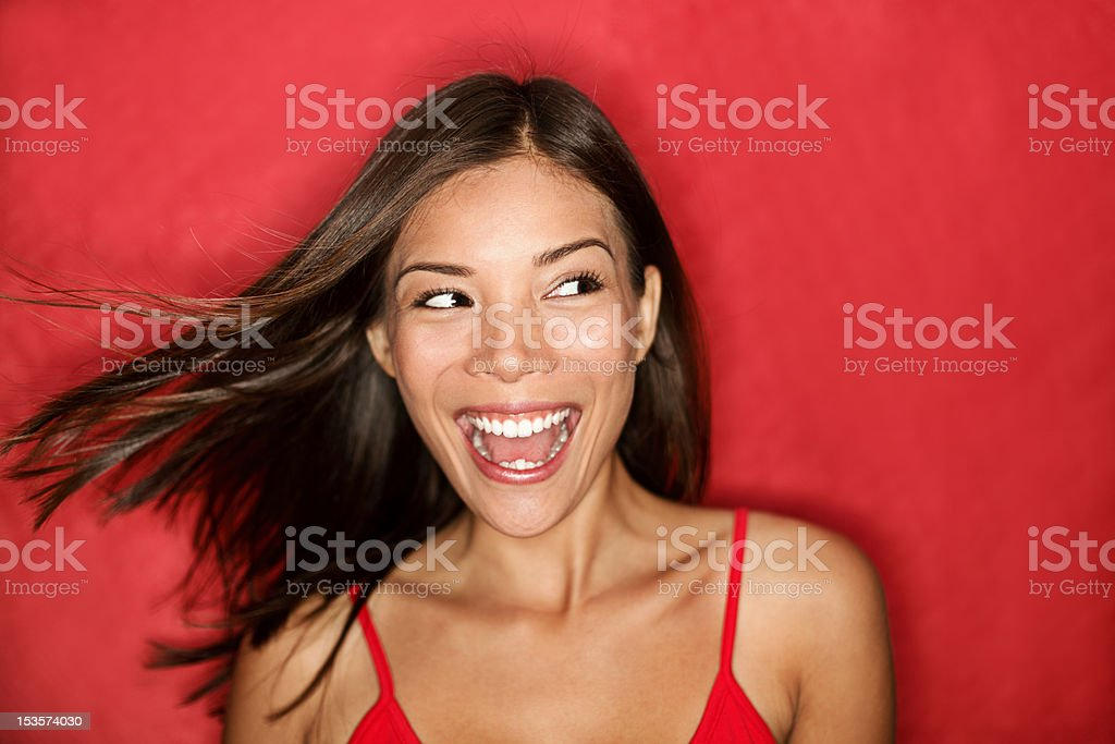Happy excited woman looking royalty-free stock photo