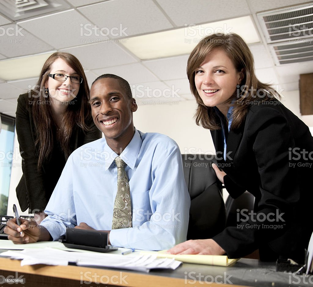 Happy executives working together royalty-free stock photo