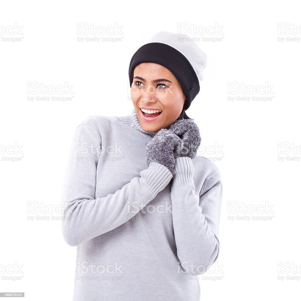 happy, exited woman looking up stock photo