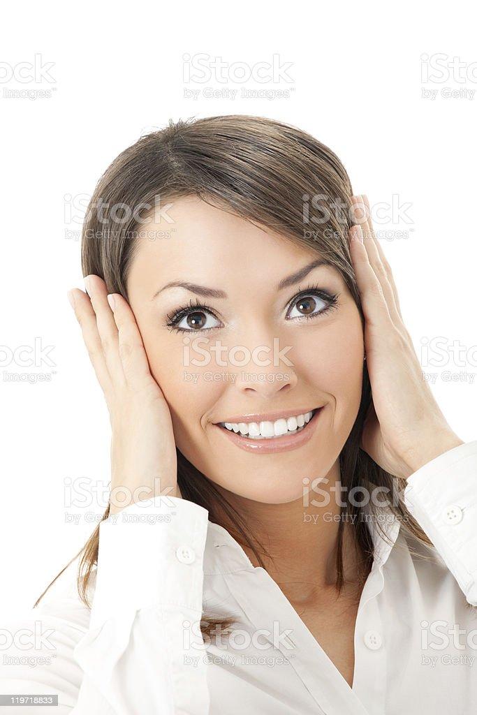 Happy expressive businesswoman, isolated on white stock photo