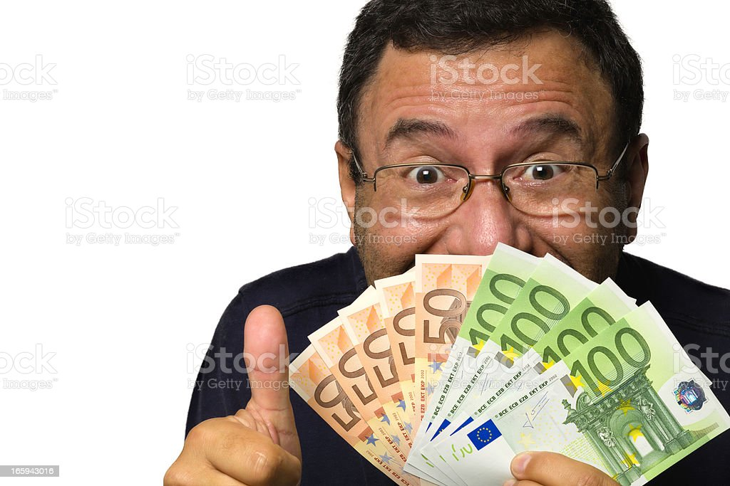 Happy face of mature man with money in hand stock photo