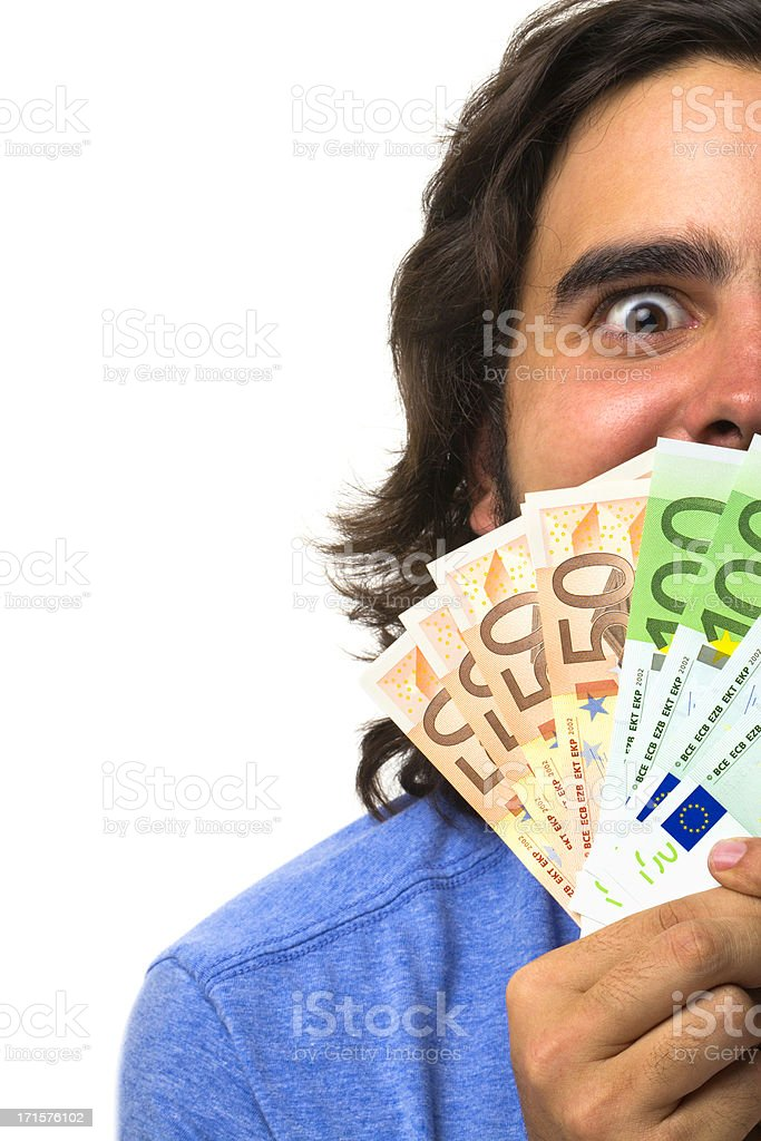 Happy face of young man with money in hand stock photo