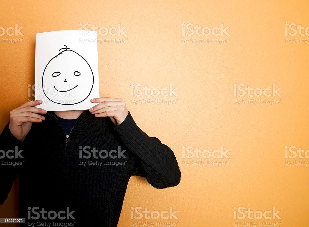 Happy face on orange royalty-free stock photo