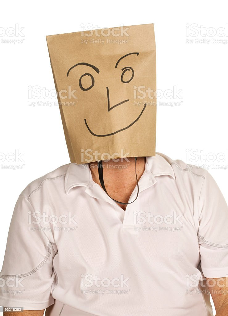 Happy face packet over senior males head royalty-free stock photo