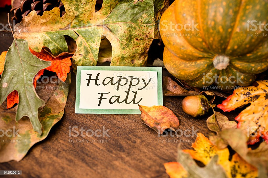 Happy Fall!  Autumn centerpiece with orange pumpkin, leaf decorations. stock photo