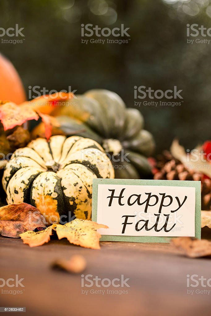 Happy Fall!  Autumn centerpiece with pumpkin, leaf decorations. stock photo