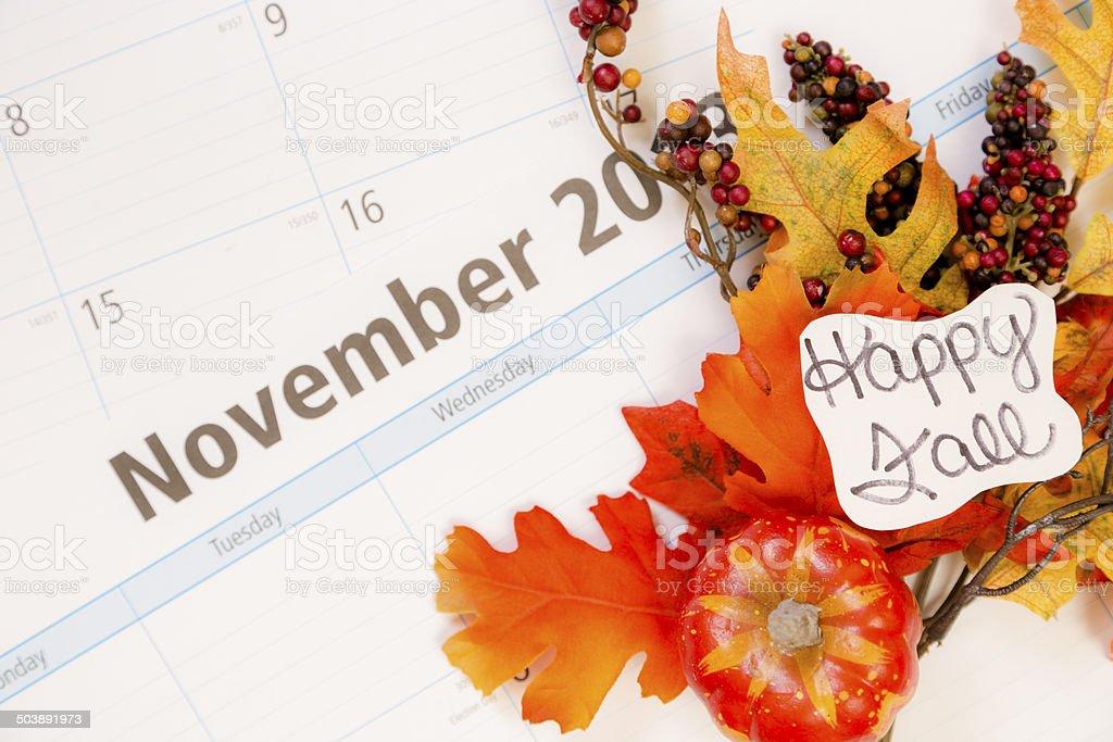 Happy Fall... Autumn floral arrangement on November calendar. royalty-free stock photo