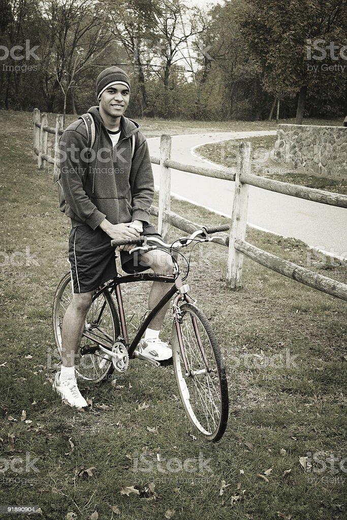 Happy fall bicycler royalty-free stock photo
