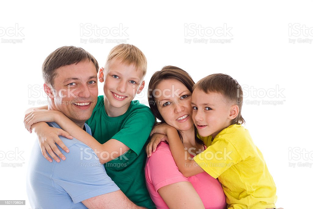 happy famaly on a white background royalty-free stock photo