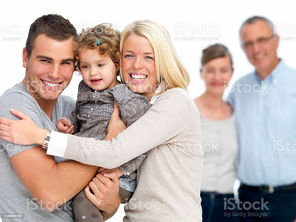 Happy family against white background royalty-free stock photo