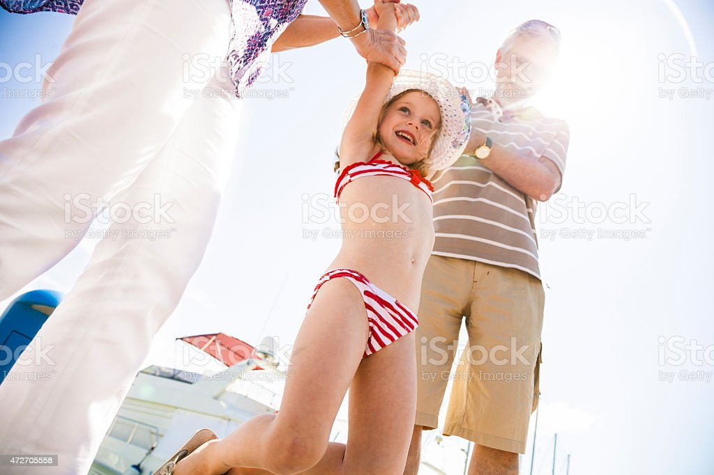 Happy family all together in vacation stock photo