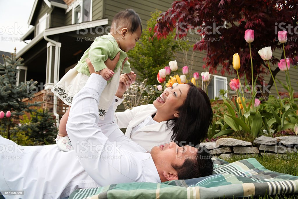 Happy Family at Home on A Spring Day royalty-free stock photo