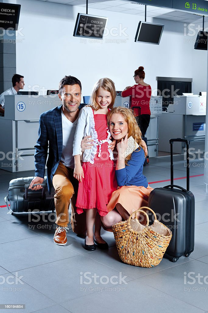 Happy family at the airport royalty-free stock photo