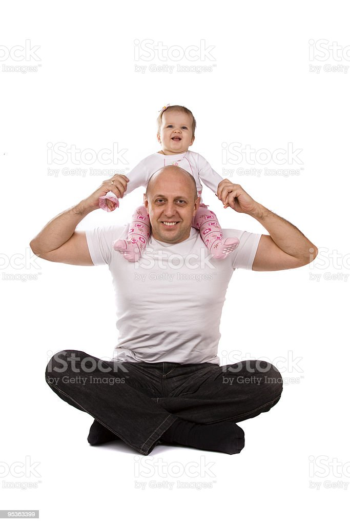 Happy family. Baby on father's shoulders royalty-free stock photo