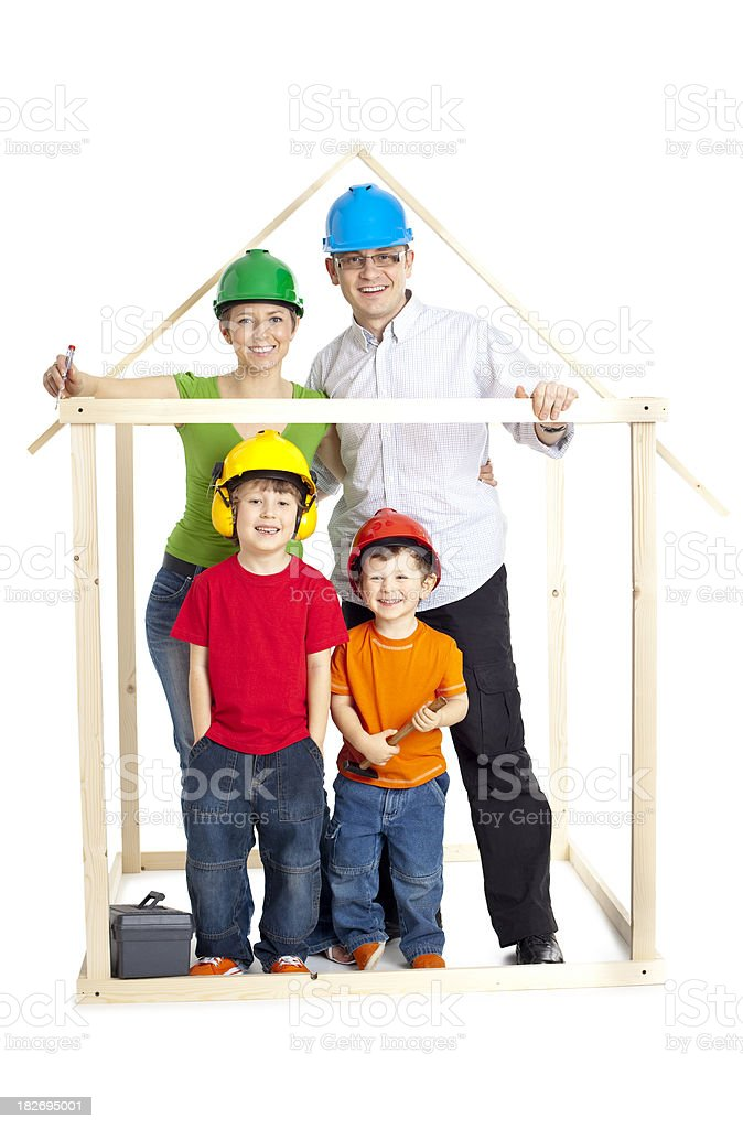 happy family building a house royalty-free stock photo