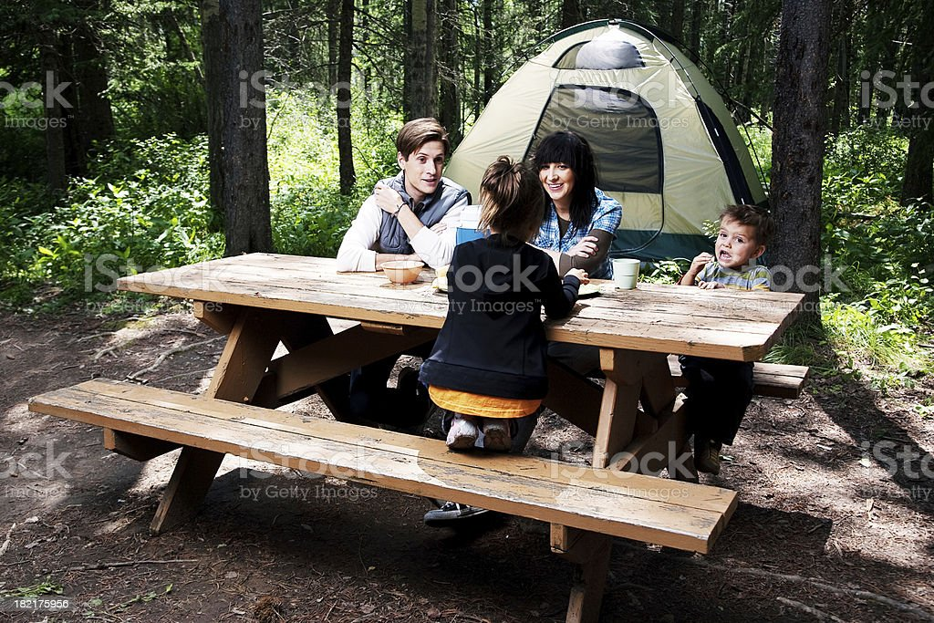 Happy Family Camping royalty-free stock photo
