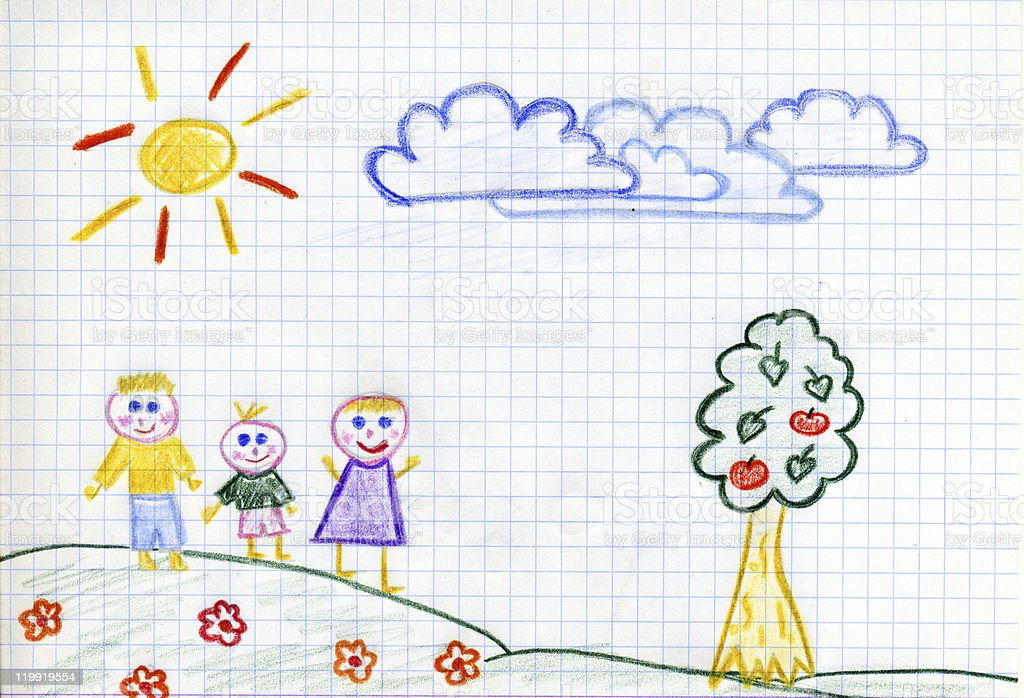happy family children's drawing royalty-free stock photo