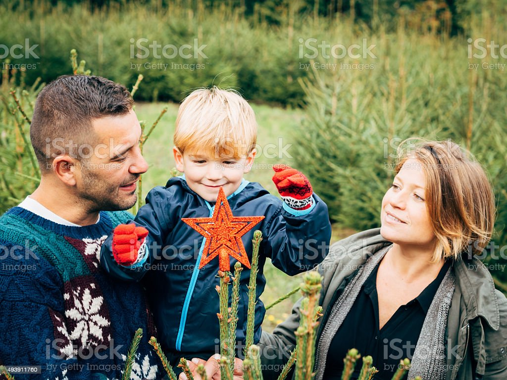 Happy Family Decorating A Christmas Tree stock photo