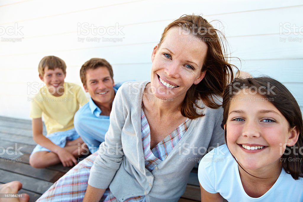 Happy family enjoying their vacation royalty-free stock photo