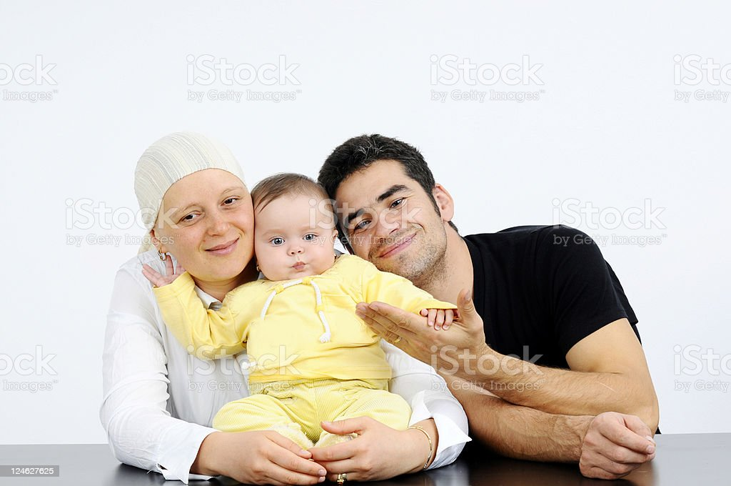 Happy family fighting cancer royalty-free stock photo