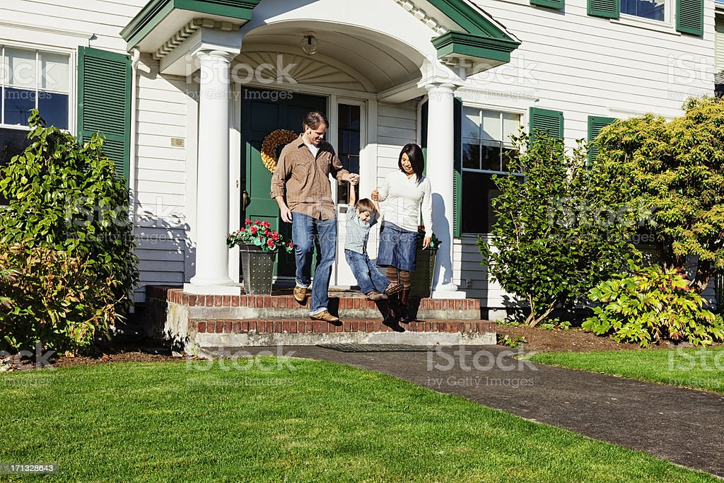 Happy Family Going for a Walk stock photo