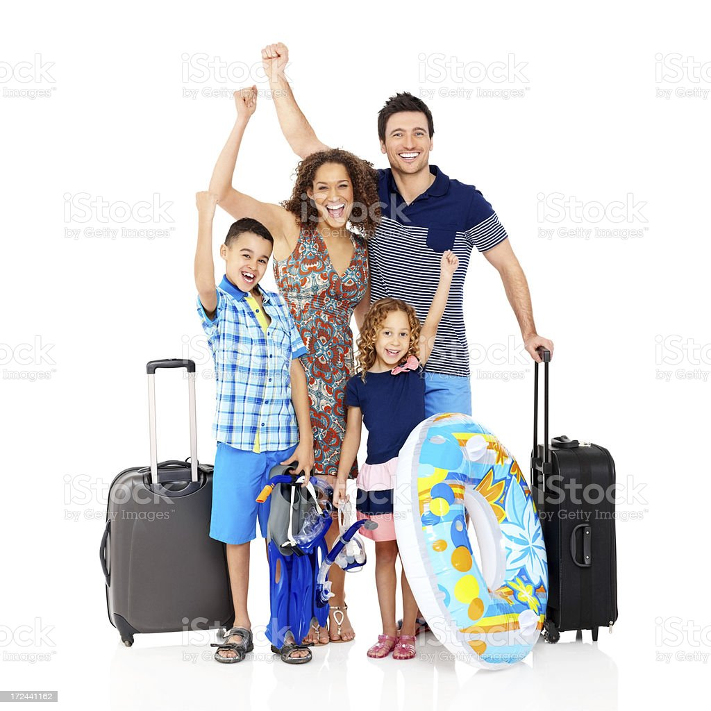 Happy family going on beach vacation royalty-free stock photo