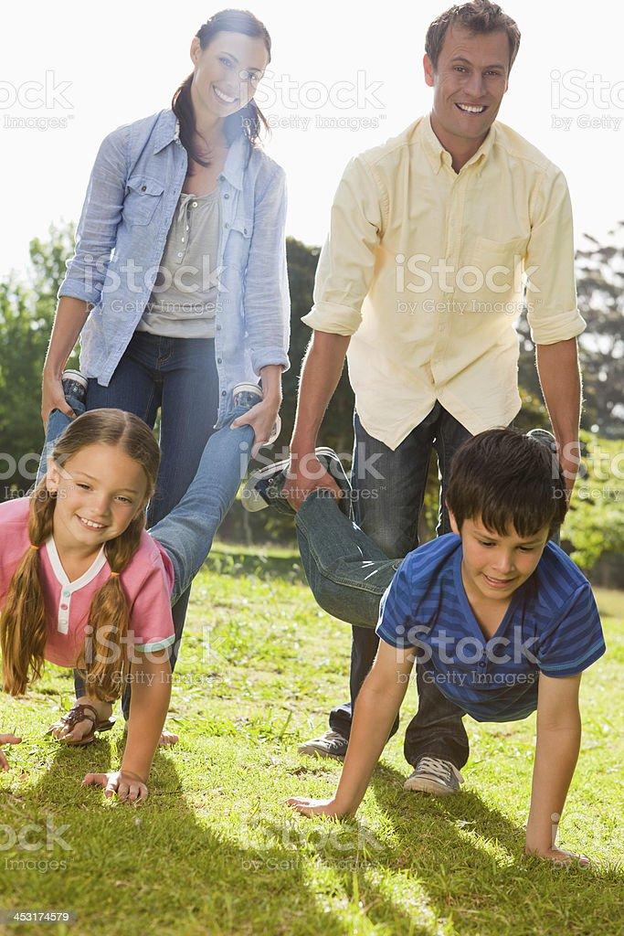 Happy family having a wheelbarrow race stock photo