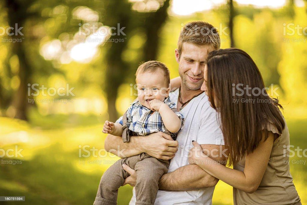 Happy family having fun outdoors royalty-free stock photo
