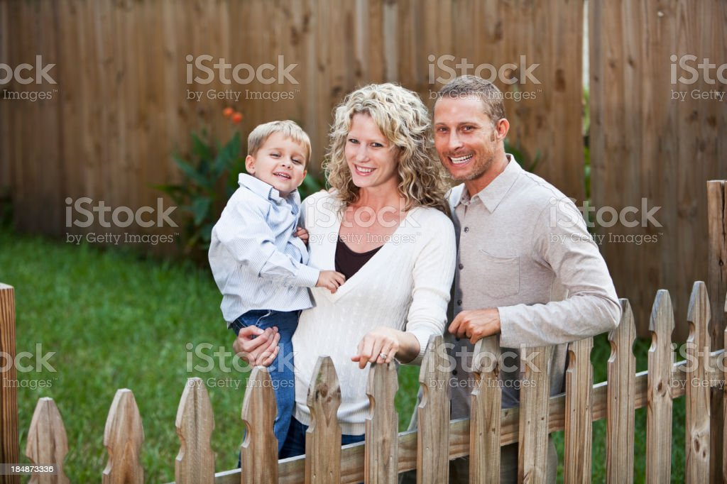 Happy family in backyard stock photo