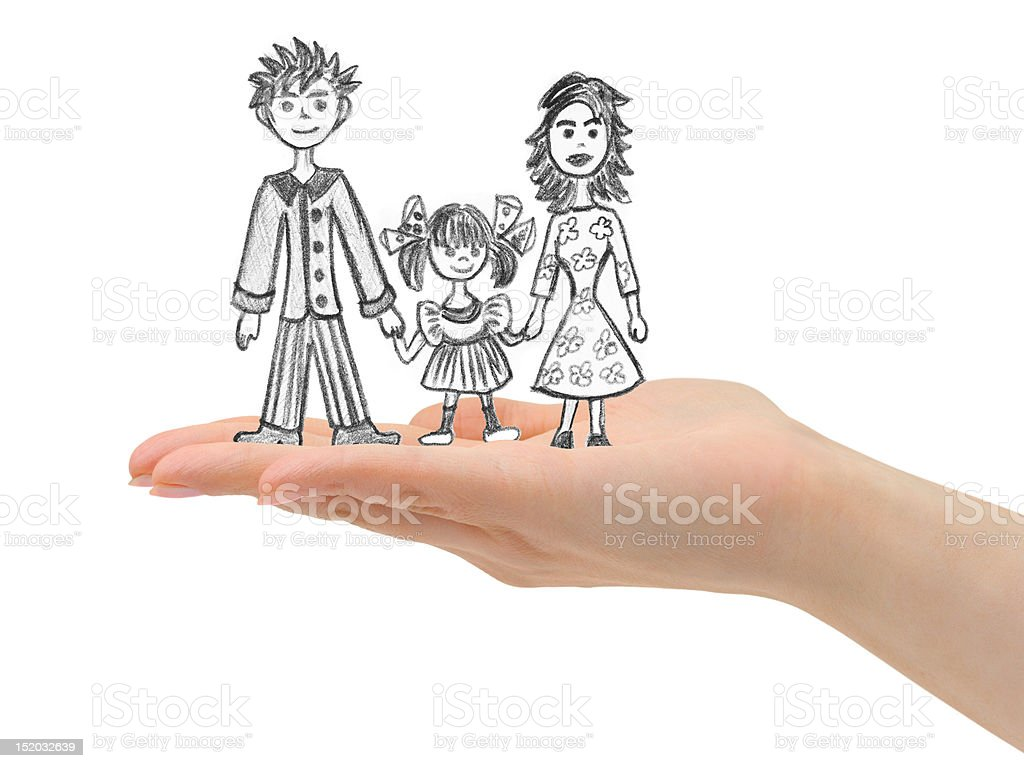 Happy family in hand royalty-free stock photo