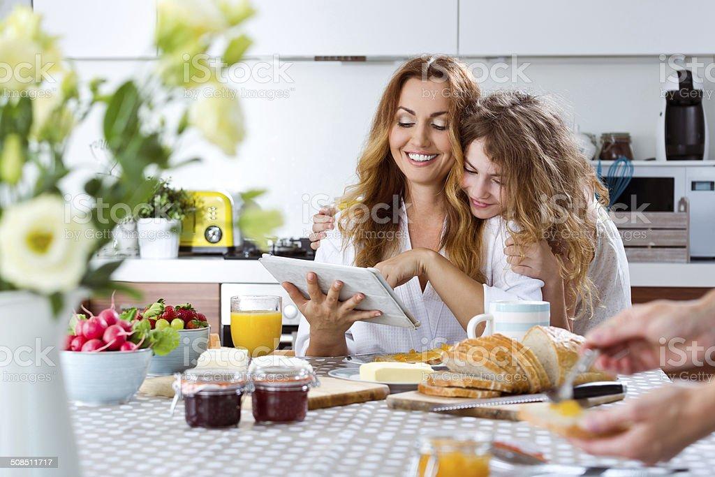 Happy family in the morning stock photo