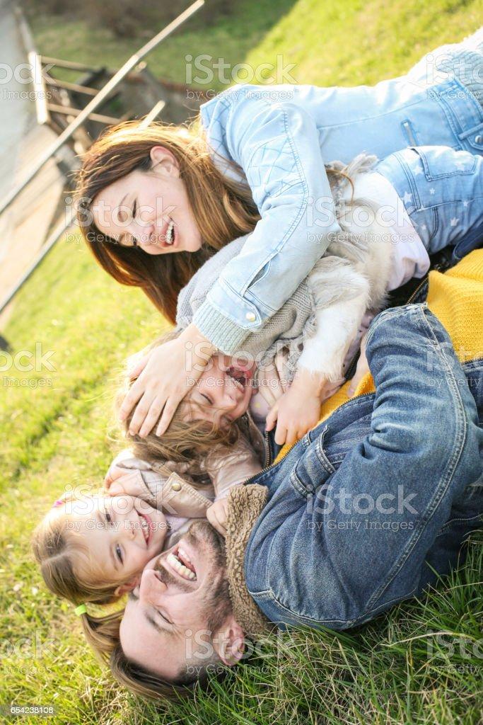 Happy family in the park. stock photo