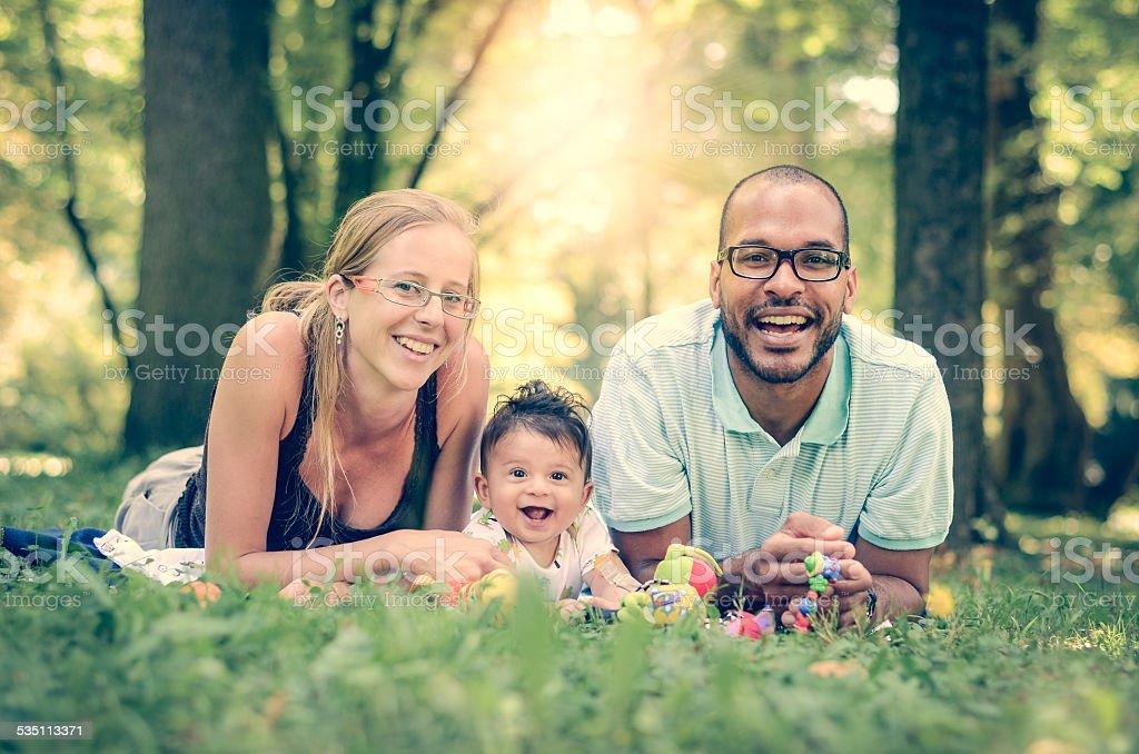 Happy family interracial stock photo