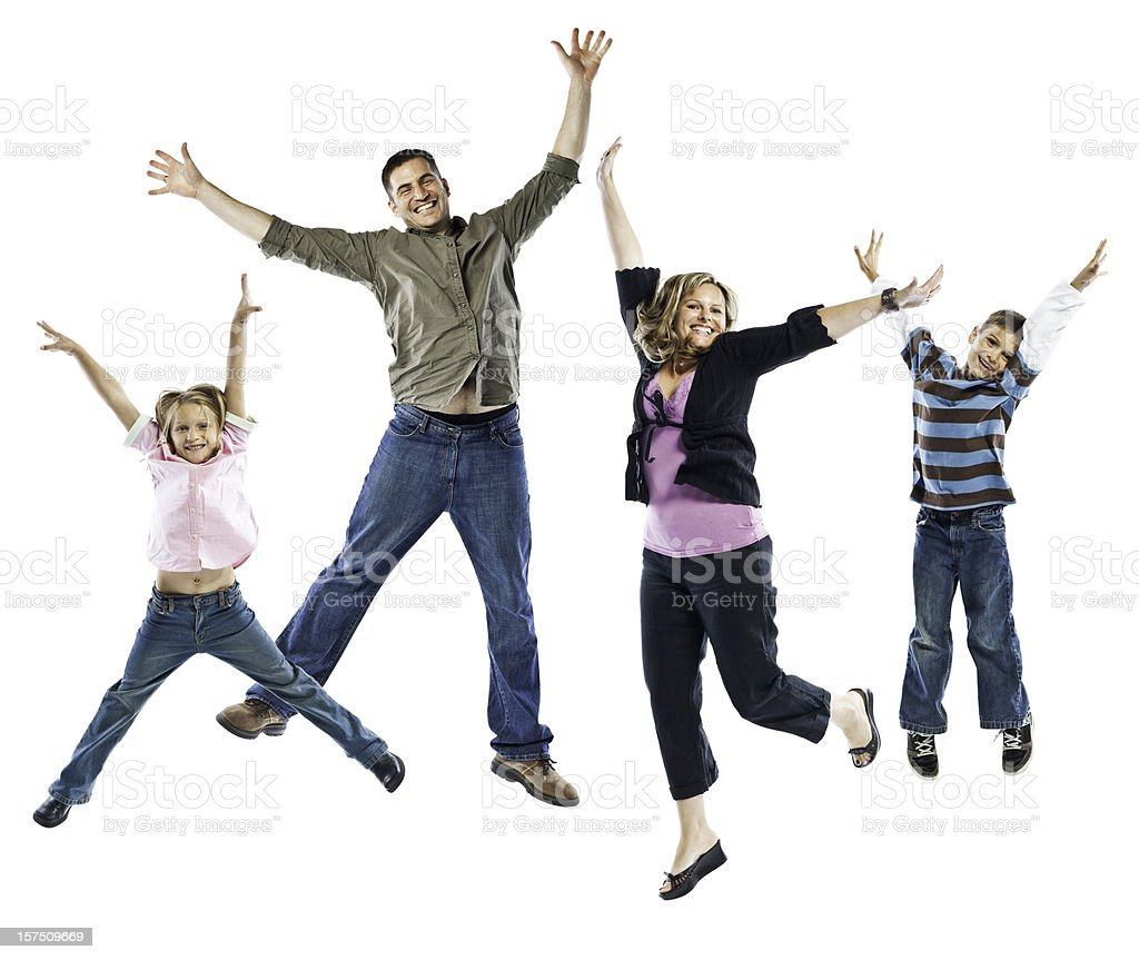 Happy Family Jumping Isolated on White Background stock photo