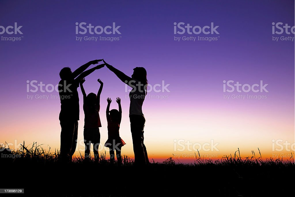 happy family making the home sign royalty-free stock photo