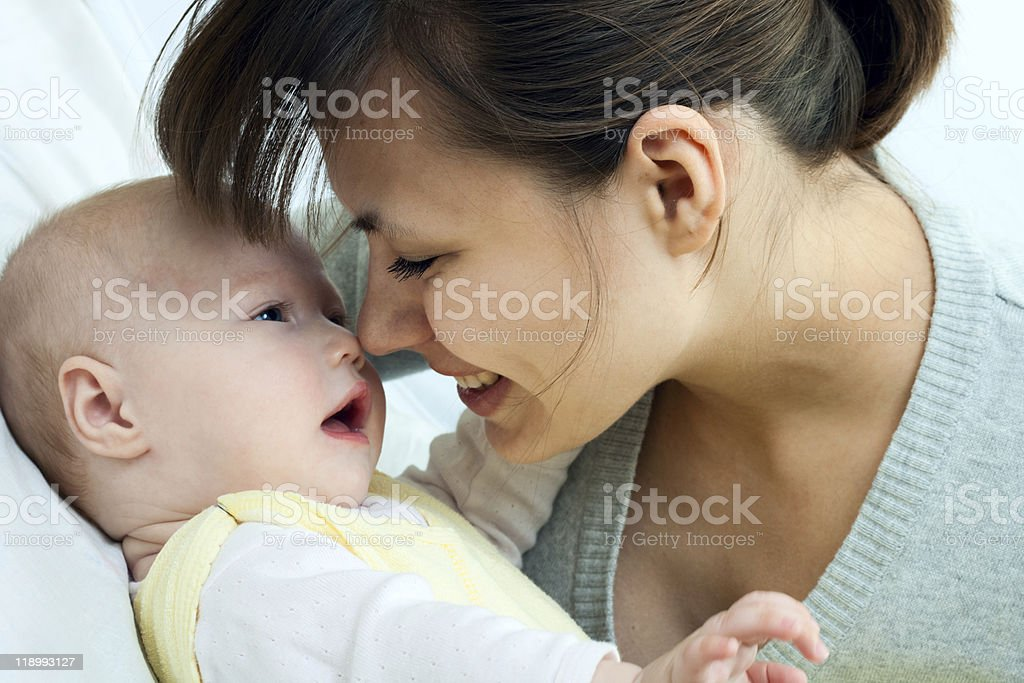 happy family - mother and baby stock photo
