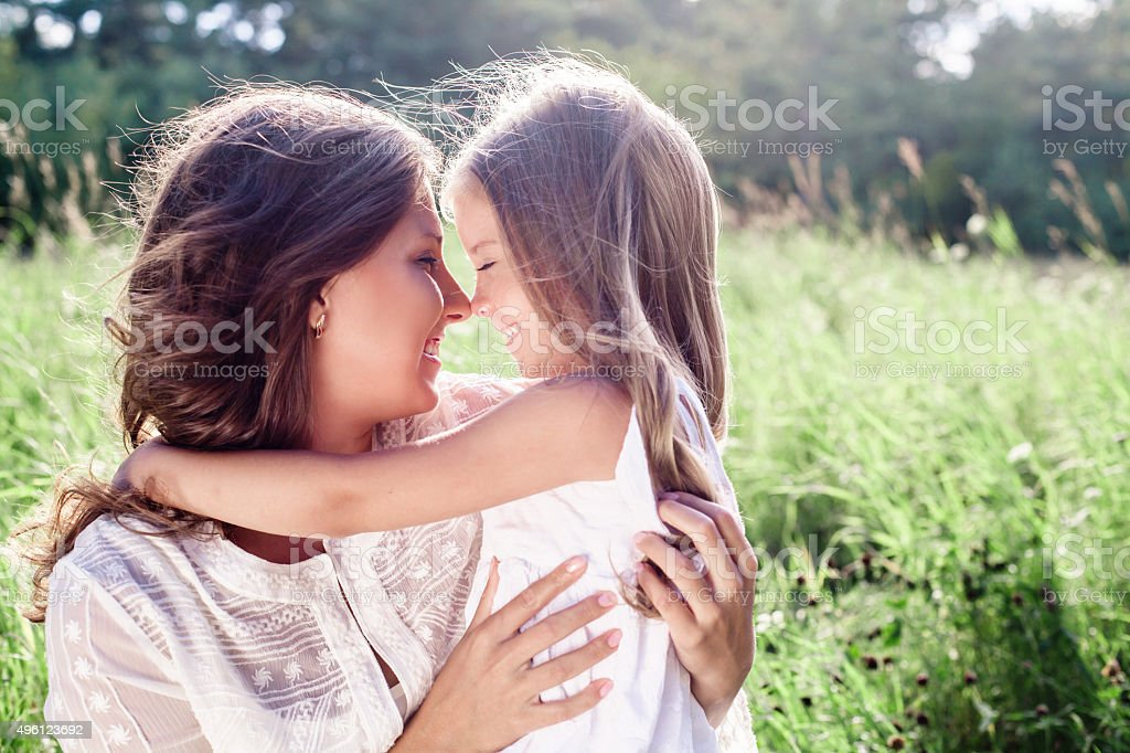 Happy family. Mother and daughter. Mother's day stock photo