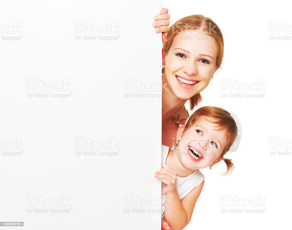 happy family mother child daughter with blank white poster stock photo