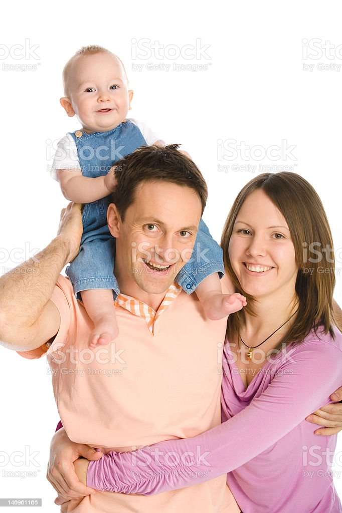 Happy family mother, father and baby boy royalty-free stock photo